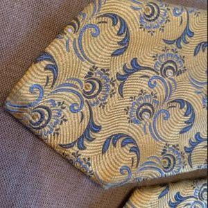 Robert Talbot Silk Tie Yellow Blue Textured